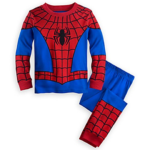 Disney Store Deluxe Spiderman Spider Man PJ Pajamas Boys Toddlers (XS 4 Extra Small 4T), Red