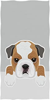 Naanle Cute Cartoon Bulldog Print Soft Absorbent Guest Hand Towels for Bathroom, Hotel, Gym and Spa (16 x 30 Inches,Gray)