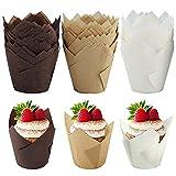 Pirottini per muffin, set di 150 pirottini di carta da forno a tulipano, adatti per cupcake e muffin, per matrimoni, feste di compleanno (5 cm)