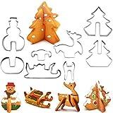 SOYYD Emporte-pièces à thème de Noël 3D, 8 pièces Emporte-pièces en Acier Inoxydable Emporte-pièces - Accessoires et Outils de pâtisserie Professionnelle, décorations de Fondant