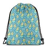 orangefruit Mochila con cordón Modalidad de navegación pequeña Bolso de Cuerda con Estampado 3D Saco Mochila Cinch Tote Bags Regalos para Mujeres Hombres Gimnasio Compras Deporte Yoga