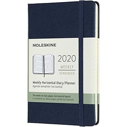 Moleskine 12 Mesi 2020 Agenda Settimanale Orizzontale, Copertina Rigida e Chiusura ad Elastico, Colore Blu Zaffiro, Dimensione Pocket 9 x 14 cm, 144 Pagine