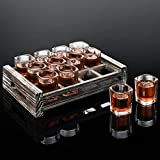 MyGift 12 Shot Glass Serving Set with Rustic Torched Wood Tray