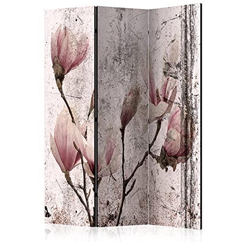 murando Raumteiler Foto Paravent Blumen Magnolien 135x172 cm beidseitig auf Vlies-Leinwand Bedruckt Trennwand Spanische Wand Sichtschutz Raumtrenner Natur Betonoptik AST rosa grau b-C-0730-z-b