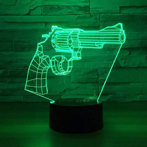Lámpara de ilusión 3D Pistola de luz nocturna LED 7 colores Cambio de ajuste Lámpara de mesa Decoración de carga USB para regalo de niño Los mejores regalos de vacaciones de cumpleaños para niños