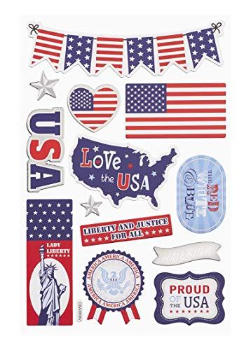 Hobbyfun Sticker USA, Bogen 13 x 18 cm