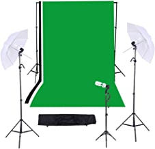 Andoer® Kit para Estudio de Fotografía/Vídeo Iluminación Triple Continuo -Incluye- Kit de 10ft * 12ft Fondo de telón Negro&Blanco&Verde con soporte + Bombillas + Paraguas + Bolsas + Otras-KIT E