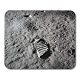 Emvency Mouse Pads Footprint Apollo 11 Boot The Moon July 20 1969 1960S NASA Lunar Space Mousepad 9.5' x 7.9' for Laptop,Desktop Computers Accessories Mini Office Supplies Mouse Mats