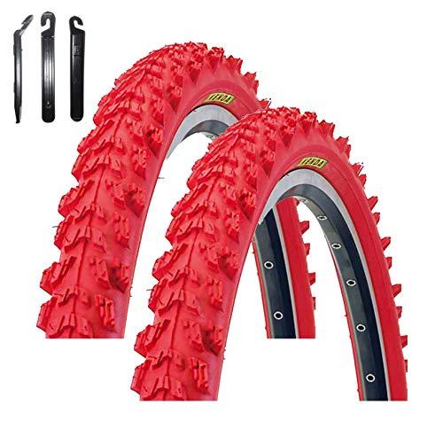 maxxi4you Kenda K-829 Psycho - Cubiertas para bicicleta de montaña (2 unidades, 24 x 1,95, incluye 3 desmontadores), color rojo