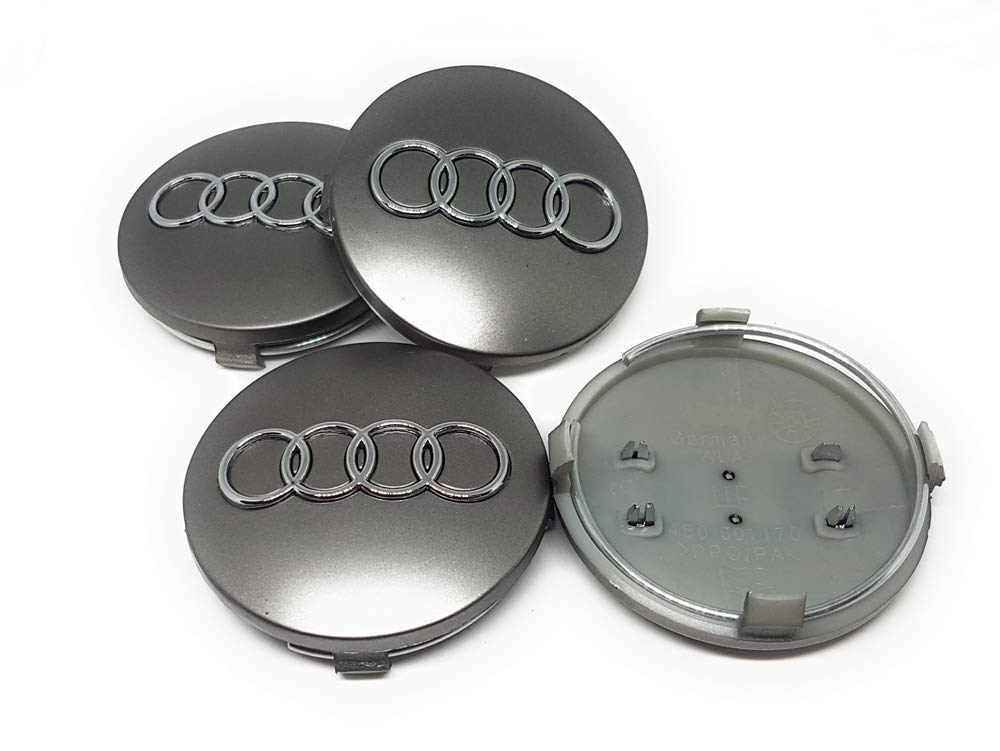 IGGY 4pz Tapones Tapacubos Audi Silver 68 mm para Audi A1 A3 A4 A5 A6 Q5 TT RS4 Q5 Q7 S4: Amazon.es: Coche y moto
