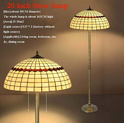 Tiffany Style Reading Floor Lamp, Vintage Stained Glass LED Standing Light, 2 Light, Antique Rustic Metal Base Decor Floor Light for Bedroom Living Room Office,E27,MAX40W,D (Color : 3)