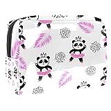 Neceser Maquillaje Portátil Lindas Bailarinas Panda Bolsa de Maquillaje Ligera Bolsillos Profesional Organizador de Maquillaje Bolso de Cosméticos de Viaje 18.5x7.5x13cm