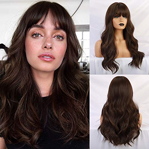 BOGSEA Brown Wig with Bangs Long Brown Wigs for Women Natural Wavy Brunette Wigs Heat Resistant Fiber Synthetic Brown Wigs for Daily Party (Dark Ashy Brown,24inch)