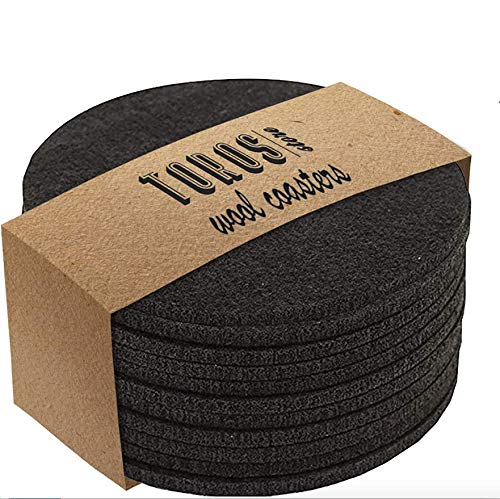Set of 12 Felt Drink Coasters 4x4 inches - Round Coaster for Drinks Absorbent - Thick Coasters for Glasses - Premium Cup Mats - Protect Furniture from Heat, Stain, Scratches and Condensatio