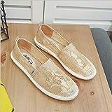 QIMITE Alpargatas para,Apartamentos Verano Hueco Encaje Zapatos resbalan sobre Pisos Pescador Zapatos Casual Mujer Mocasines Casual Perezoso Sapato Feminino Zapatos Planos,Imagen,37