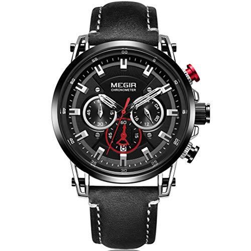 Megir Reloj de pulsera para hombre, militar, negro, correa de piel, esfera negra con manecillas rojas, cronógrafo, calendario, resistente al agua, XL
