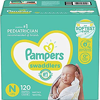 Baby Diapers Newborn/Size 0 (< 10 lb), 120 Count - Pampers Swaddlers, Giant Pack (Packaging May Vary) from AmazonUs/PRFY7