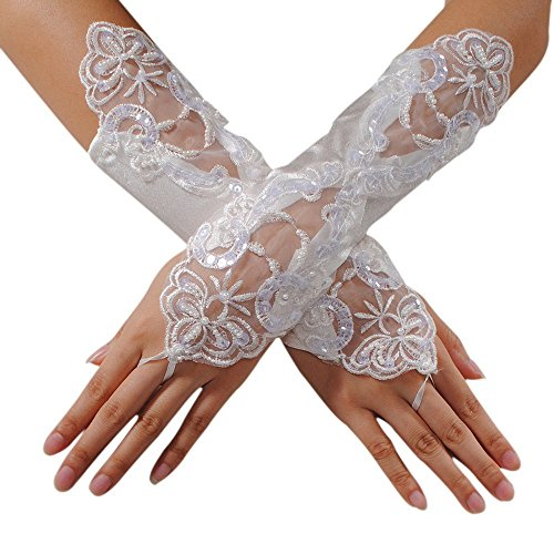 M Bridal Women's Fingerless Pearls Lace Satin Bridal Gloves for Wedding Party Costume Accessory G03 (White)