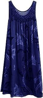 "JUTOO Women""s Fashion Lace Dress Stitching Print Sleeveless Dresses,Summer Dress,Beach Dress,Casual Kleid"
