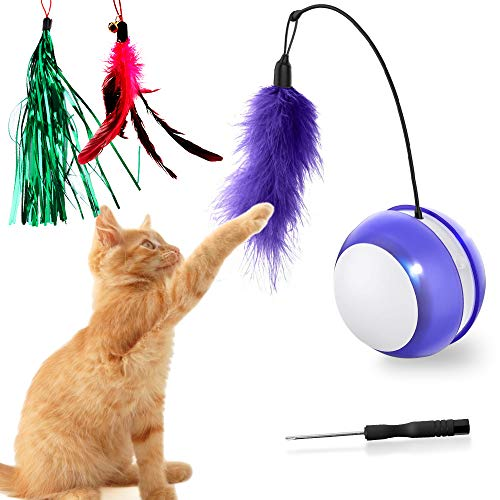 Interactive Robotic Cat Toys, 360 Degree Self Rotating Ball, Build-in Spinning Led Light, Automatic Moving Cat Toys with Large Capacity Battery,Automatic Feathers/Ball/Wand Toys for Kitten/Cats