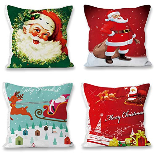 ToRhine Home Christmas Pillow Case Sofa Decorative Santa Claus Xmas Throw Pillowcase Cotton Linen Square Cushion Pillow Covers 18x18Inch 4 Pack Sets A