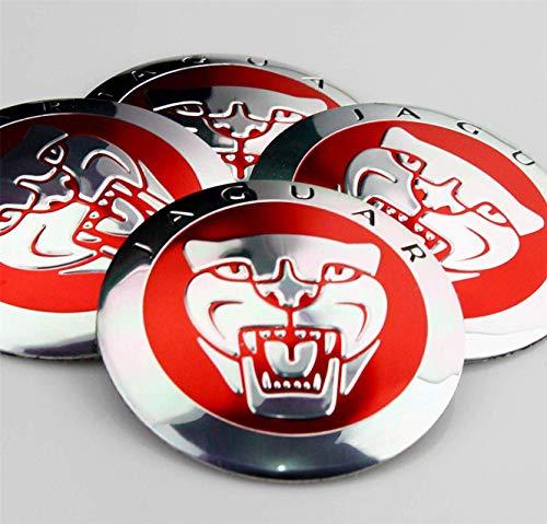 56mm Red Growler Jaguar Wheel Centre Cap Emblems Tin Badges Stickers x4