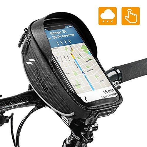 OUNDEAL Bolsa Bicicleta Manillar, Bolsa Cuadro Bicicleta con Pantalla Táctil Sensible, Bolsa Movil Bicicleta para Teléfono Inteligente por Debajo de 6,5 Pulgadas