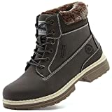 Womens Hiking Snow Winter Boots - Comfortable Work Ankle Boots For Women, Warm Fur Boots For Working Backpacking Cycling FNW19-Brown-8