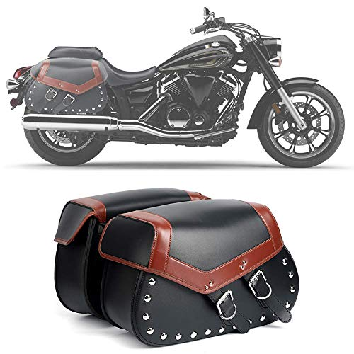 2Pcs Heavy-duty Waterproof Motorcycle Saddlebags 2-Strap - Extra-Large PU Synthetic Leather...
