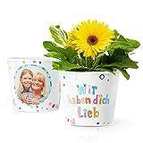 Facepot Geschenk für Oma, Uroma oder Mama - Blumentopf (ø16cm) mit Bilderrahmen für Zwei Fotos (10x15cm)   Wir haben Dich lieb