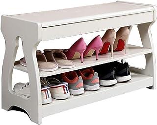 Meuble à chaussures couloir avec rangement pour banc à chaussures en bois massif | Support pour organisateur de chaussure ...