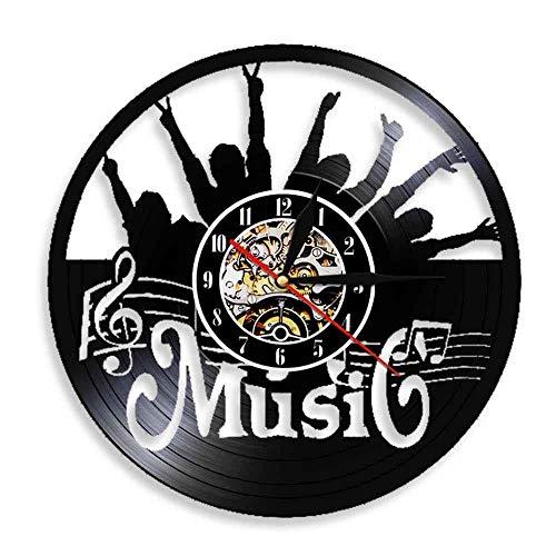 Reloj de Pared Vintage,Reloj Pared de Disco de Vinilo Silencioso Decoración para Habitación Dormitorio Cocina Oficina Bar 30CM。 Concierto de música