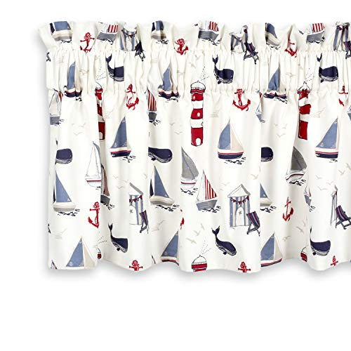 Cackleberry Home Nautical Ocean Valance Curtain Lined 54 Inches W x 17 Inches L