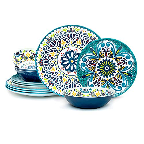 Zak Designs 12pc Medallion Cool Melamine Durable Non-BPA Dinnerware Set Includes Dinner Plates, Salad Plates, and Individual Bowls, Service for 4 (12pc, Medallion Cool)