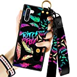 Cool Words with Glitter Feather Samsung Galaxy Note 10 Case with Wrist Strap Kickstand Lanyard Full-Body Shockproof Protective Wrist Band Case for Note 10 6.3'' 2020