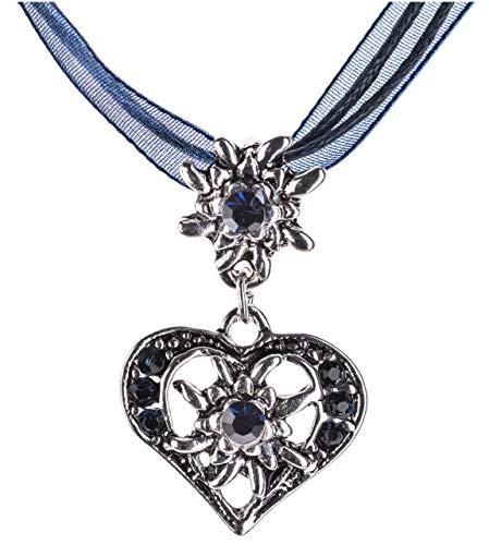 Elegante collana a forma di cuore per costume tradizionale, con strass e stella alpina in vari colori–collana con ciondolo per vestito alla tirolese e pantaloni di pelle da donna Blau Taglia unica