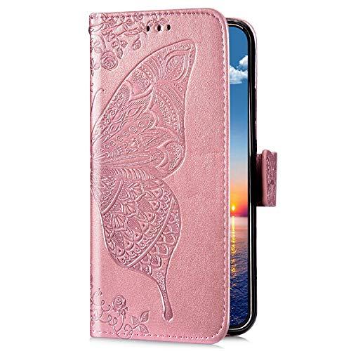 Uposao Kompatibel mit Samsung Galaxy S10e Handyhülle Schutzhülle Retro Schmetterling Blumen Muster Leder Hülle Brieftasche Klapphülle Wallet Flip Case Tasche Magnet Kartenfächer,Rose Gold