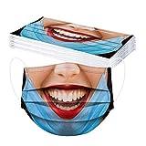 Rabbiter 10-50 Stück Erwachsene Mundschutz Einweg 3D Lustig Motiv Mund und Nasenschutz mit Motiv Bunt Multifunktionstuch Maske Atmungsaktiv Mund-Tuch Bandana Halstuch Schals