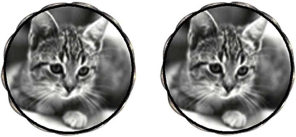 GiftJewelryShop Bronze Retro Style Cat In Black White Photo Clip On Earrings Flower Earrings #12