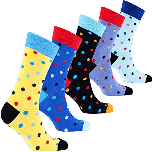 Socks n Socks-Men's 5-pair Luxury Cotton Polka Dotted Dots Dress Socks Gift Box …