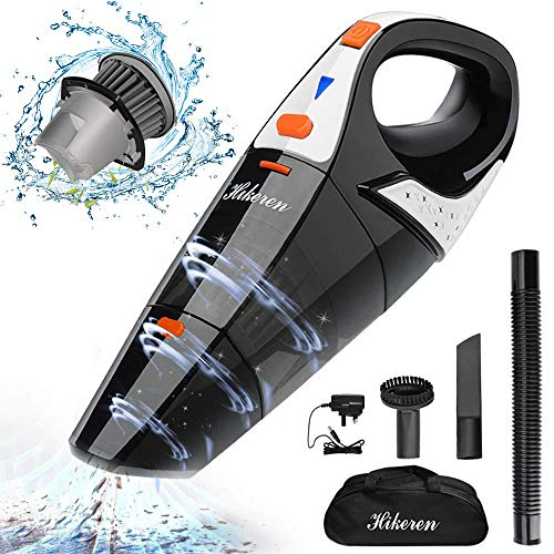 Hikeren Handstaubsauger, kabellos, 5000 PA, Nass- und Trockensauger, Akku 2400 mAh, Filter aus Edelstahl, komplettes Zubehör für Haus und Auto