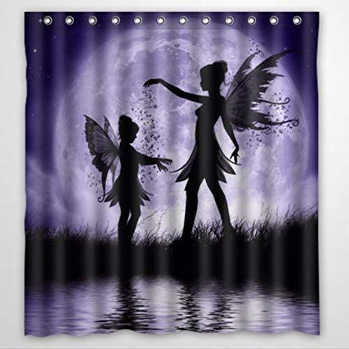 BYRON HOYLE Duschvorhang mit Ringen aus Polyesterstoff, Motiv: Feen tanzend im Himmel, 152,4 x 182,9 cm