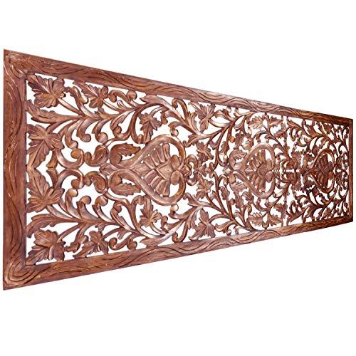 Orientalische Holz Ornament Wanddeko Azara 183cm gross XXL | Orientalisches Wandbild Wanpannel in Braun als Wanddekoration | Vintage Relief als Dekoration im Schlafzimmer oder Wohnzimmer