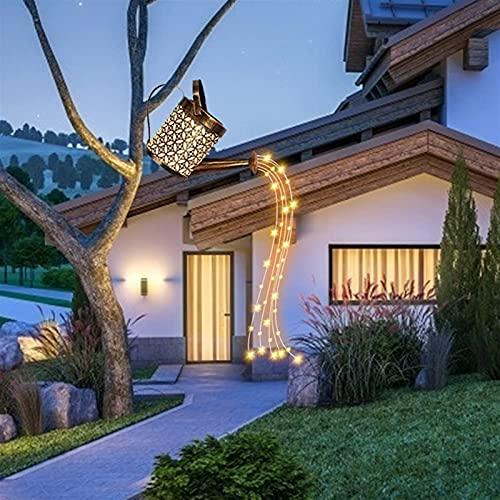Luces de jardín solar, hervidor de hierro hueco creativo, luces al aire libre jardín LED iluminación de iluminación de decoración