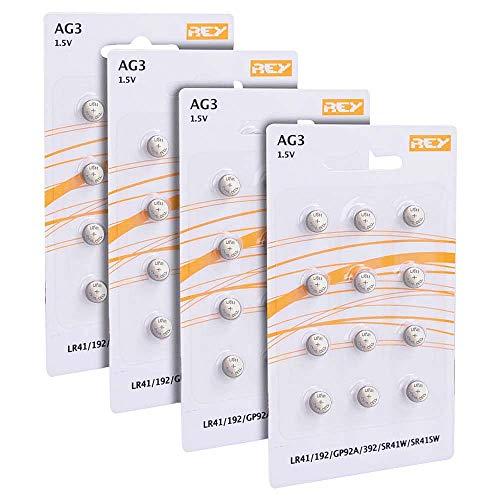 Pack 48 Batterias AG3 1.5V, Batteria a Bottone al Litio, LR41, 192, GP92A, 392, SR41W, SR41SW