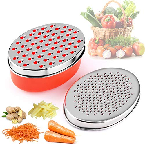 KAPIKASON Rallador De Queso con Contenedor de Ahorro de Alimentos y Tapa de Frutas y Verduras(Rojo)
