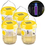 Exbuster Wespenfallen: 4er-Set giftfreie Solar-LED-Insektenfalle z. Aufhängen oder Hinstellen (Wespenfalle insektizidfrei)