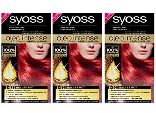 3x SYOSS 5-92 HELLES ROT oleo intense Haarfarbe - Farbgenaues Ergebnis