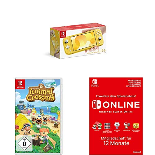 Nintendo Switch Lite, Standard, gelb + Animal Crossing: New Horizons [Nintendo Switch] + Online Mitgliedschaft - 12 Monate | Switch Download Code