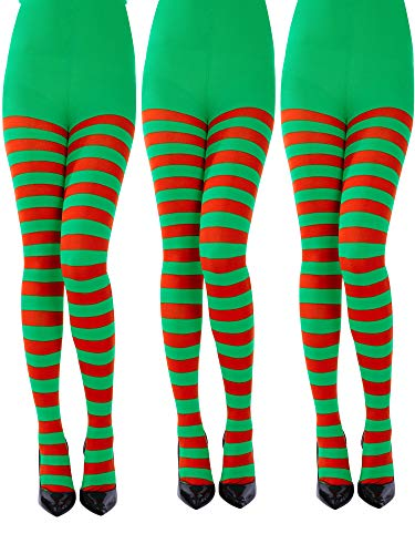 Sumind 3 Pairs Christmas Striped Tights Full Length Tights Thigh High Stocking for Christmas Halloween Costume Accessory (Red, Green, Adult Size)